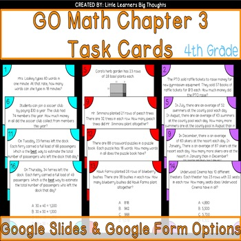 GO Math Chapter 3 Task Cards Grade 4