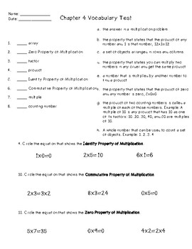 GO Math Chapter 4 Vocabulary Study Guide and Test