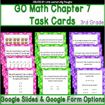 GO Math Chapter 7 Task Cards Grade 3