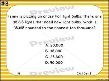 GO Math Chapters 1-4 Task Cards Grade 4 Bundle