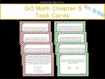 GO Math Chapters 5-8 Task Cards Grade 4 Bundle