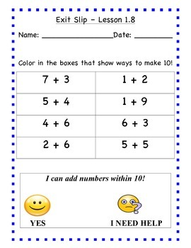 GO Math - First Grade, Chapter 1 - Journal Writing and Exit Slips