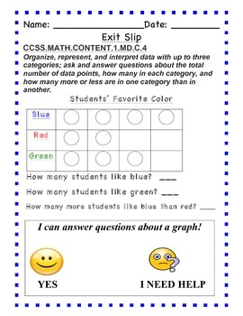 GO Math - First Grade, Chapter 10 - Exit Slips