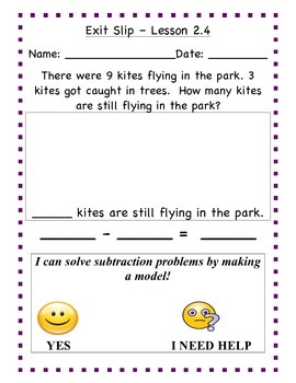 GO Math - First Grade, Chapter 2 - Journal Writing and Exit Slips