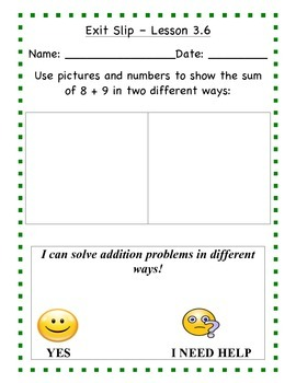 GO Math - First Grade, Chapter 3 - Journal Writing and Exit Slips