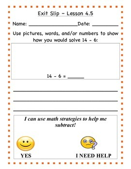 GO Math - First Grade, Chapter 4 - Journal Writing and Exit Slips