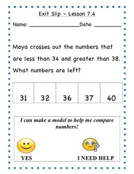 GO Math - First Grade, Chapter 7 - Journal Writing and Exit Slips