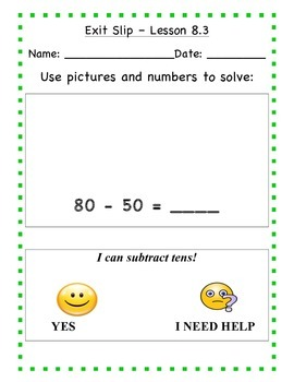 GO Math - First Grade, Chapter 8 - Journal Writing and Exit Slips