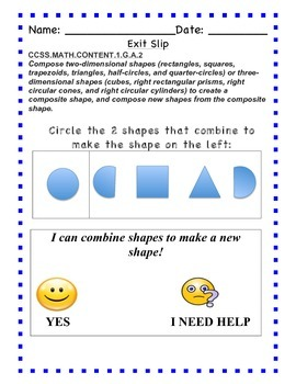 GO Math - First Grade, Chapters 11 & 12 - Exit Slips