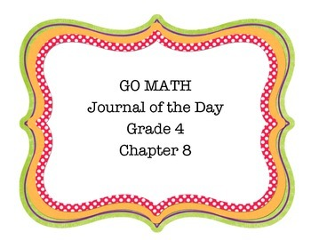 GO Math Grade 4 Chapter 8 Journal of the Day Posters