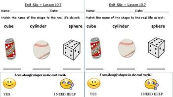 GO Math Kindergarten, Chapter 10 - Exit Tickets