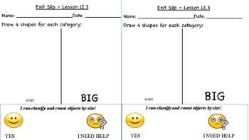 GO Math Kindergarten, Chapter 12 - Exit Tickets