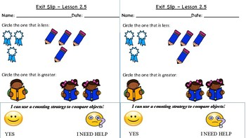 GO Math Kindergarten, Chapter 2 - Exit Tickets
