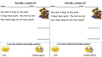 GO Math Kindergarten, Chapter 3 - Exit Tickets