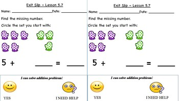 GO Math Kindergarten, Chapter 5 - Exit Tickets