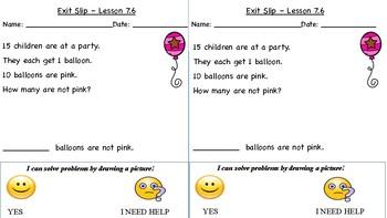 GO Math Kindergarten, Chapter 7 - Exit Tickets