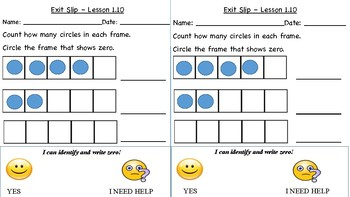 GO Math Kindergarten, Chapter 1 - Exit Tickets