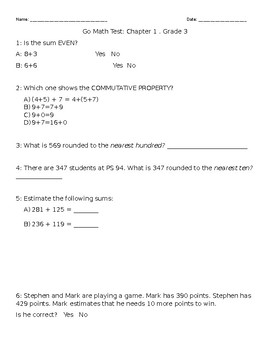 GO Math Modified Chapter 1 Test Grade 3