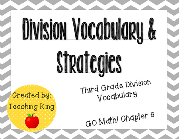 GO Math Third Grade Chapter 6-7 Vocabulary Cards and Strategies