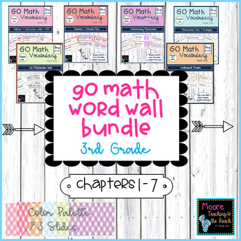 GO Math Vocabulary Word Wall Cards Bundle Chapters 1-7, Grade 3