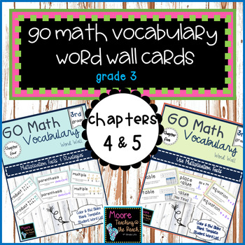 GO Math Vocabulary Word Wall Chapter 4 and 5, Grade 3