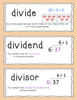 GO Math Word Wall Vocabulary Cards Chapter 6 and 7, Grade 3