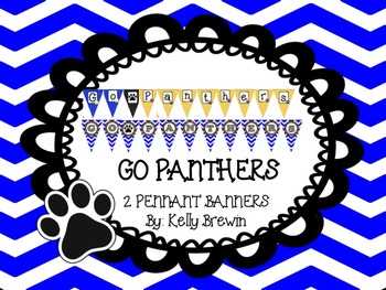 GO PANTHERS Pennant Banner {Blue/Yellow CHEVRON}