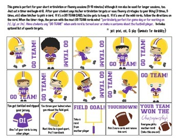 Quick Drill Football Purple & Gold Team {for speech therapy or any skill drill}