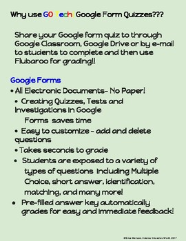 GO Tech! for Google Drive Form Quizzes - Ecology  (Self-Grading!!!)