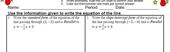 GOAL -Equation in Slope-Int & Stand Form: Pt & Parallel Line & Quiz (QR Code) V1