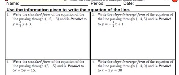 GOAL -Equation in Slope-Int & Stand Form: Pt & Parallel Line & Quiz (QR Code) V2