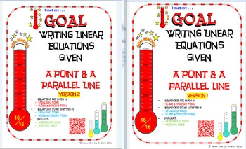GOAL -Equation in Slope-Int & Stand Form: Pt & Parallel Line & Qz (QR Code) V1&2