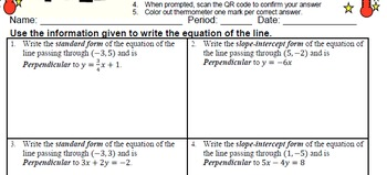 GOAL -Equation in Slope-Int & Stand Form: Pt & Perpendicular & Quiz (QR Code) V2