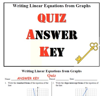 GOAL - Equations in Slope-Intercept & Standard Form from graphs & Quiz (QR Code)