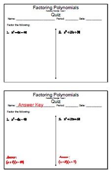 GOAL NO PREP - FREEBIE Factoring Poly - Trinomial Level 1 & Quiz (QR Codes)