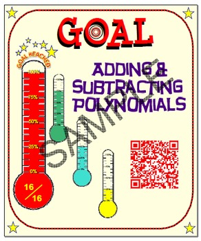 GOAL NO PREP - Sample: Adding & Subtracting Poly & Quiz (QR Codes)