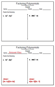 GOAL NO PREP - Factoring Poly - Difference of 2 Squares & Quiz (QR Codes)