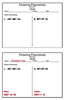 GOAL NO PREP - Factoring Poly - GCF & Quiz (QR Codes)