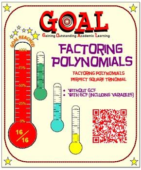 GOAL NO PREP - Factoring Poly - Perfect Square Trinomial & Quiz (QR Codes)