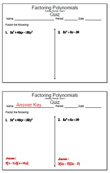 GOAL NO PREP - Factoring Poly - Trinomial Level 3 & Quiz (QR Codes)