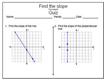 GOAL NO PREP - Find the slope from graphs & Quiz (QR Codes)