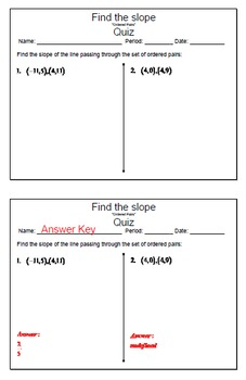 GOAL NO PREP - Find the slope from ordered pairs & Quiz (QR Codes)