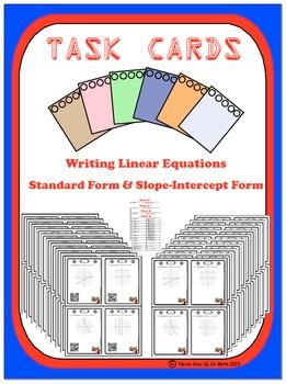 Task Cards 74- Writing Linear Equation -Standard & Slope-i