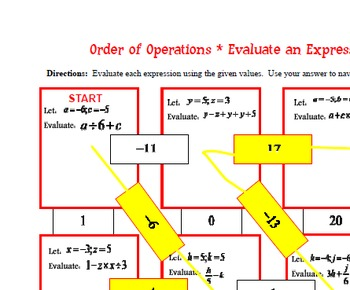 Maze - Order of Operations - Evaluate an Expression Level 2
