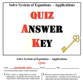 "GOAL NO PREP - Solve System of equation ""APPLICATIONS"" & Quiz (QR Code)"