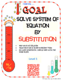 GOAL NO PREP - Solve System of equation by Substitution Level 1 & Quiz (QR Code)