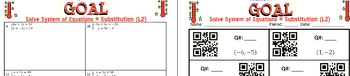 GOAL NO PREP - Solve System of equation by Substitution Level 2 & Quiz (QR Code)