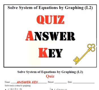 GOAL NO PREP - Solve System of equations by Graphing Level 2 & Quiz (QR Codes)