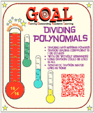 GOAL NO PREP - Dividing Polynomials (Long or Synthetic) & Quiz (QR Codes)