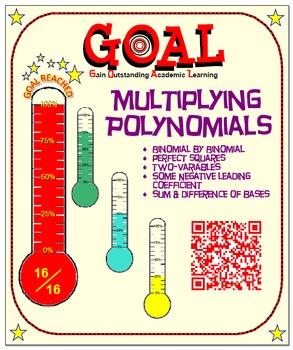 GOAL NO PREP - Multiplying Polynomials (Bi by Bi) & Quiz (QR Codes)